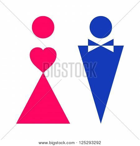Two symbols of gender in two colors