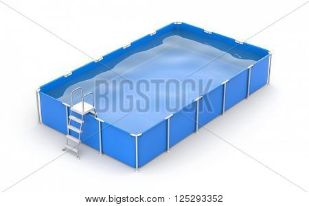 Square swimming pool. 3d illustration