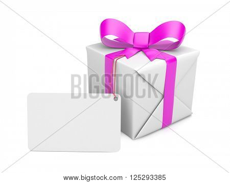 Gift-box with pink bow and tag. 3d illustration