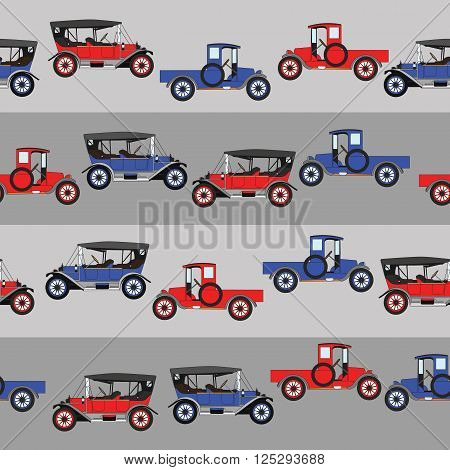 Background blue and red two cartoon retro car. Pattern Vector retro truck. Line with cars.