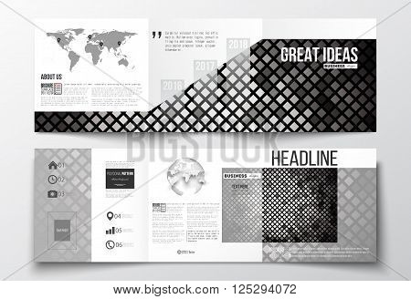 Vector set of tri-fold brochures, square design templates with element of world map and globe. Abstract polygonal background, modern stylish sguare design silver vector texture.