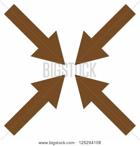 Center Arrows vector icon. Center Arrows icon symbol. Center Arrows icon image. Center Arrows icon picture. Center Arrows pictogram. Flat brown center arrows icon. Isolated center arrows icon graphic.