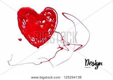 Ink Blot Look Like Heart. Vector Illustration