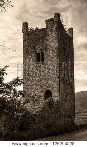 ancient tower on the outskirts of Priverno in the province of Latina in Italy