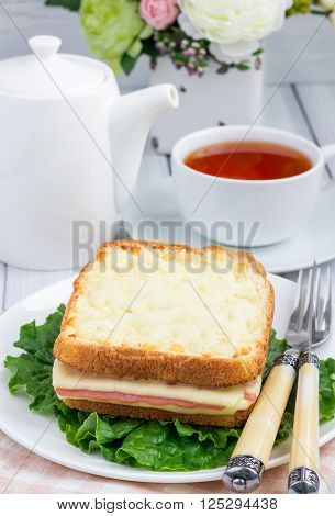 French toasted sandwich Croque monsieur with ham and cheese