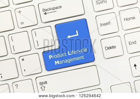 White Conceptual Keyboard - Product Lifecycle Management (blue Key)