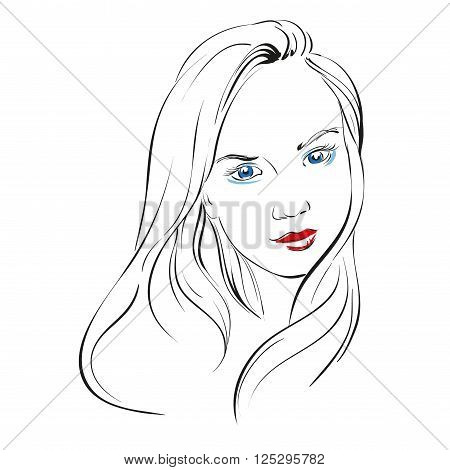 beautiful woman face hand drawn vector llustration sketch