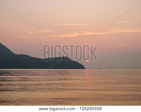Beauty landscape with sunrise over the sea and mountain at Thailand (Khao Sam Roi Yot National Park)