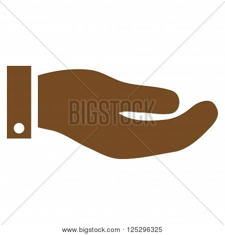 Hand vector icon. Hand icon symbol. Hand icon image. Hand icon picture. Hand pictogram. Flat brown hand icon. Isolated hand icon graphic. Hand icon illustration.