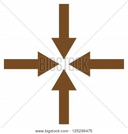 Impact Arrows vector icon. Impact Arrows icon symbol. Impact Arrows icon image. Impact Arrows icon picture. Impact Arrows pictogram. Flat brown impact arrows icon. Isolated impact arrows icon graphic.