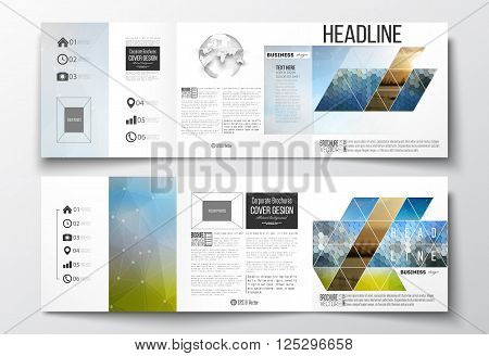 Vector set of tri-fold brochures, square design templates with element of world globe. Abstract colorful polygonal background with blurred image on it, modern stylish triangular and hexagonal vector texture.