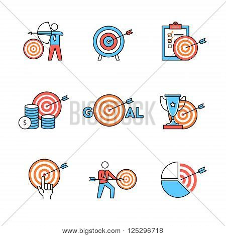 Set of business metaphors. Business men people aiming, achieving targets and goals. Flat style icons. Thin line art illustrations isolated on white.