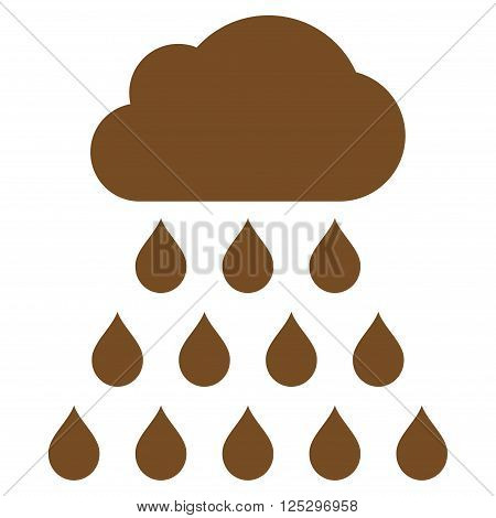 Rain Cloud vector icon. Rain Cloud icon symbol. Rain Cloud icon image. Rain Cloud icon picture. Rain Cloud pictogram. Flat brown rain cloud icon. Isolated rain cloud icon graphic.