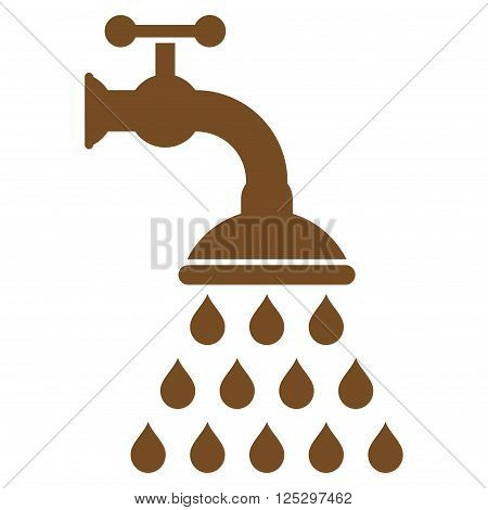 Shower Tap vector icon. Shower Tap icon symbol. Shower Tap icon image. Shower Tap icon picture. Shower Tap pictogram. Flat brown shower tap icon. Isolated shower tap icon graphic.