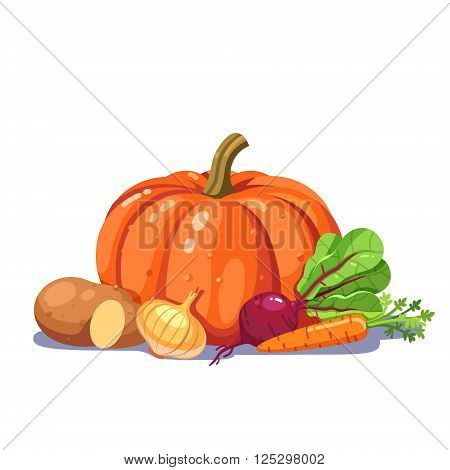 Freshly plucked vegetables in a nice composition. Modern flat style vector illustration isolated on white background.