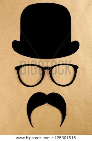 Photo booth props glasses, mustache and bowler