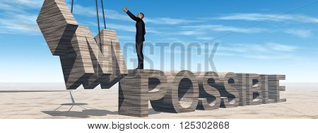 3D illustration of a concept conceptual 3D illustration of business man standing over abstract stone impossible text on sky background banner
