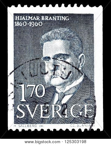 SWEDEN - CIRCA 1960 : Cancelled postage stamp printed by Sweden, that shows Hjalmar Branting.