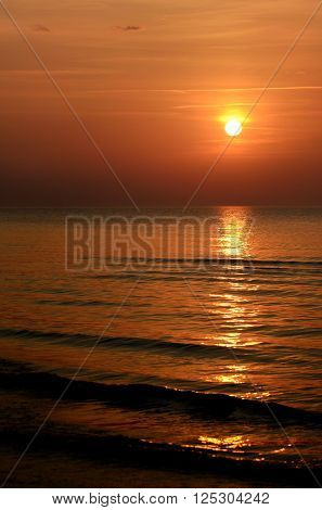 Colorful orange sunset in the Baltic sea ** Note: Visible grain at 100%, best at smaller sizes