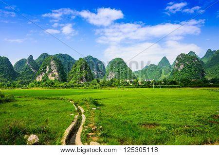 Karst Mountain landscape in rural Guilin, Guangxi, China.