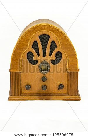 Vintage radio device over a white background