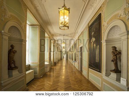 GOTHA, GERMANY - APRIL 15, 2015: large hallway of late baroque style Friedenstein Castle in Gotha, Germany