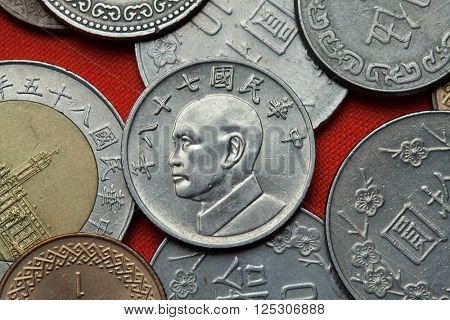 Coins of Taiwan. Taiwan president Chiang Kai-shek depicted in the Taiwan five dollars coin.
