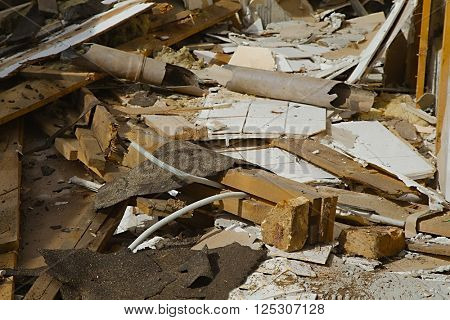 Pile of debris of a destroyed building
