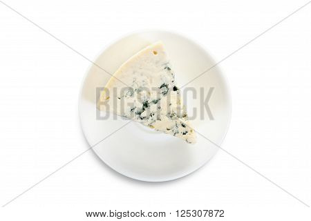 cheese on a white plate isolated on white backgtound