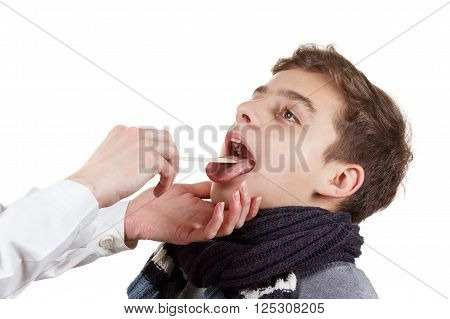 Child with doctor. Boy and pediatrician medical exam pharynx and tonsils