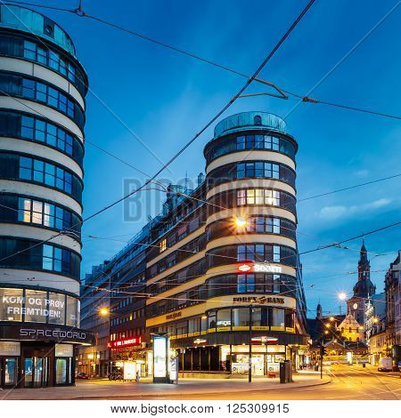 OSLO, NORWAY - JULY 31, 2014: Night View of Storgata street in Oslo, Norway. Summer evening