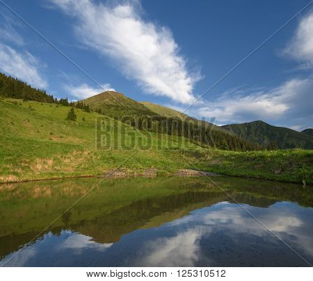 Summer landscape with a lake in mountains