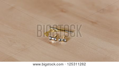 wedding cufflinks, close-up of gold men's cufflinks, Men's Accessories