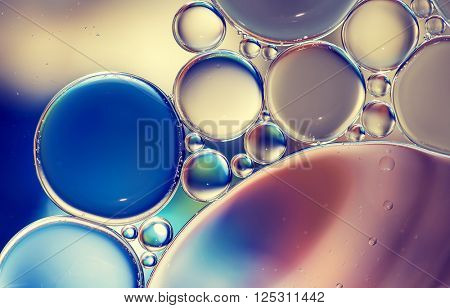 Water bubbles colorful macro abstract as background