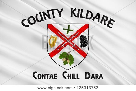Flag of County Kildare is a county in Ireland. It is located in the province of Leinster and is part of the Mid-East Region. It is named after the town of Kildare.