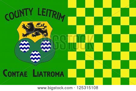 Flag of County Leitrim is a county in Ireland. It is named after the village of Leitrim and is based on the historic Gaelic territory of West Breifne.