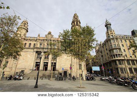 Barcelona, Catalonia, Spain - September 1, 2012: Central Post Office Building In Barcelona, Cataloni