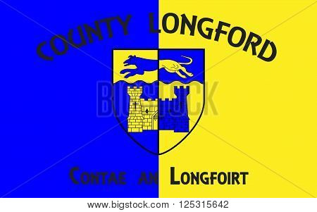 Flag of County Longford is a county in Ireland. It is part of the Midlands Region and is also located in the province of Leinster.