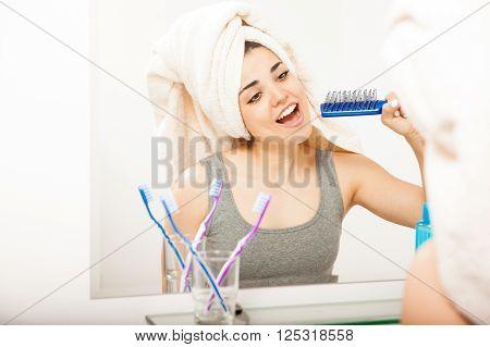 Latin Woman Having Fun In The Bathroom