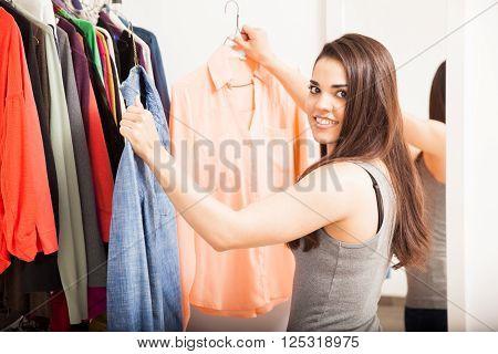 Beautiful Woman Choosing What To Wear