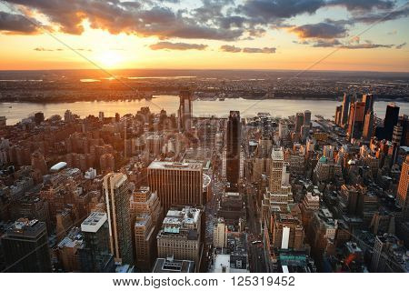 New York City west side sunset with urban cityscape view.