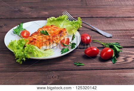 White Plate Glass Portion Of The Baked Cod Fish
