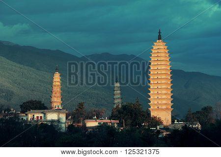 Ancient pagoda in Dali old town, Yunnan, China.