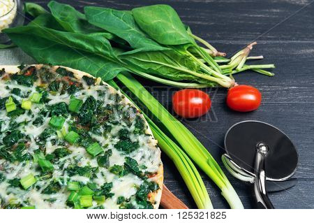 Vegetarian Pizza With Spinach