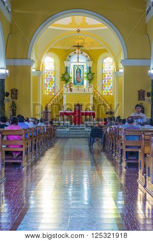 GRANADA NICARAGUA - MARCH 20 : The interior of La Merced Church in Granada Nicaragua on March 20 2016. The original church constructed in 1534 and restored in 1862