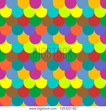 Multicolored tiling seamless texture. Fish scales pattern. Vector art.