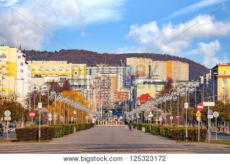 GDYNIA, POLAND - APRIL 22, 2015: Kosciuszko Square in Gdynia  - representation places in city. Kosciuszko Square is a very popular place among the citizens of Gdynia.