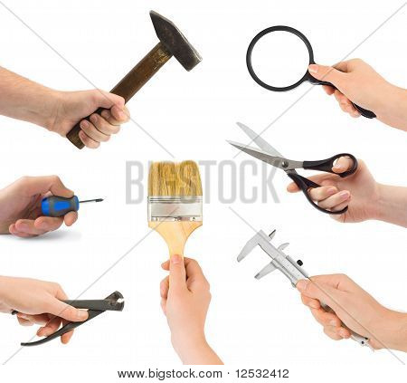 Set of hand with tool