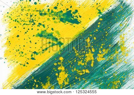 Yellow-green abstract hand-painted gouache brush stroke daub background texture