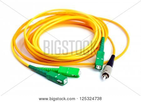 fiber optic patch cord on white background